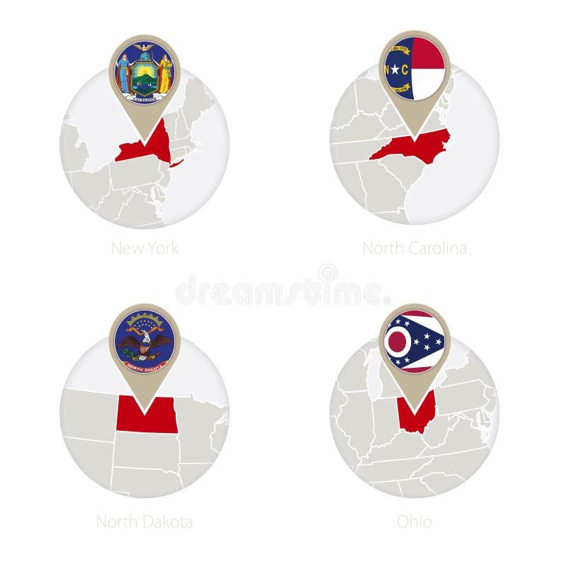 Οι ΗΠΑ δηλώνουν τη Νέα Υόρκη, τη βόρεια Καρολίνα, τη βόρεια Ντακότα, το χάρτη του Οχάιου και τη σημαία στον κύκλο απεικόνιση αποθεμάτων