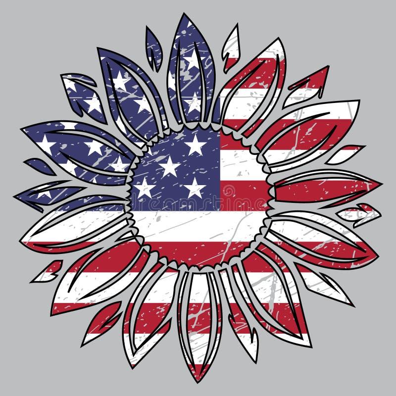 Οι ΗΠΑ σημαιοστολίζουν στον ηλίανθο, 4ο του Ιουλίου, πατριωτικό, τέταρτο του Ιουλίου, Αμερική, εμείς διανυσματική απεικόνιση