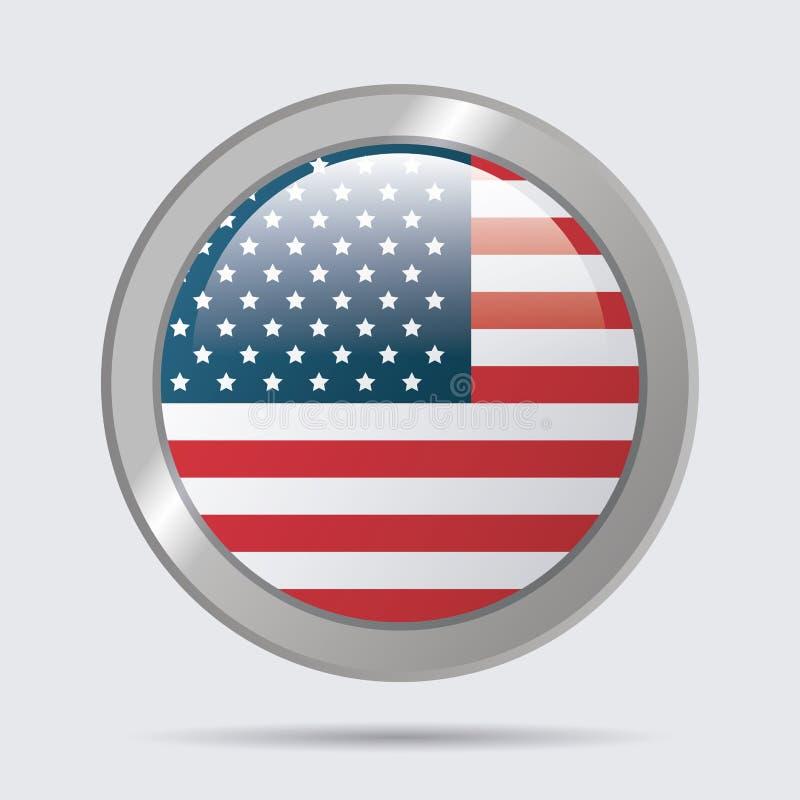 Οι ΗΠΑ σημαιοστολίζουν το στιλπνό σχέδιο εμβλημάτων κουμπιών απεικόνιση αποθεμάτων