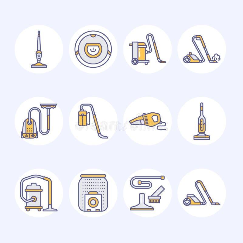 Οι ηλεκτρικές σκούπες χρωμάτισαν τα επίπεδα εικονίδια γραμμών Διαφορετικοί τύποι κενών - βιομηχανικοί, οικογένεια, φορητός, ρομπο ελεύθερη απεικόνιση δικαιώματος