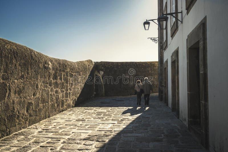Οι ηλικιωμένοι συνδέουν το περπάτημα στοκ εικόνες