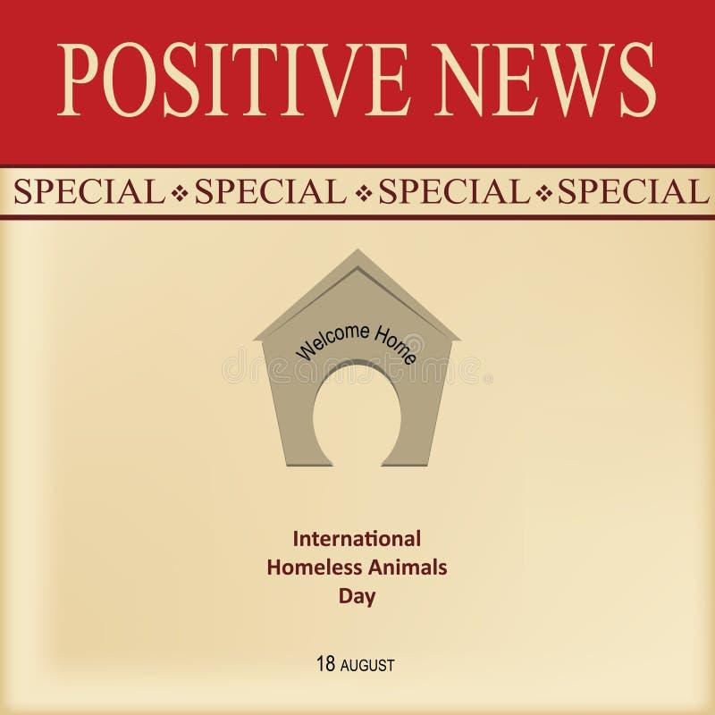 Οι θετικές ειδήσεις χαιρετίζουν το σπίτι διανυσματική απεικόνιση