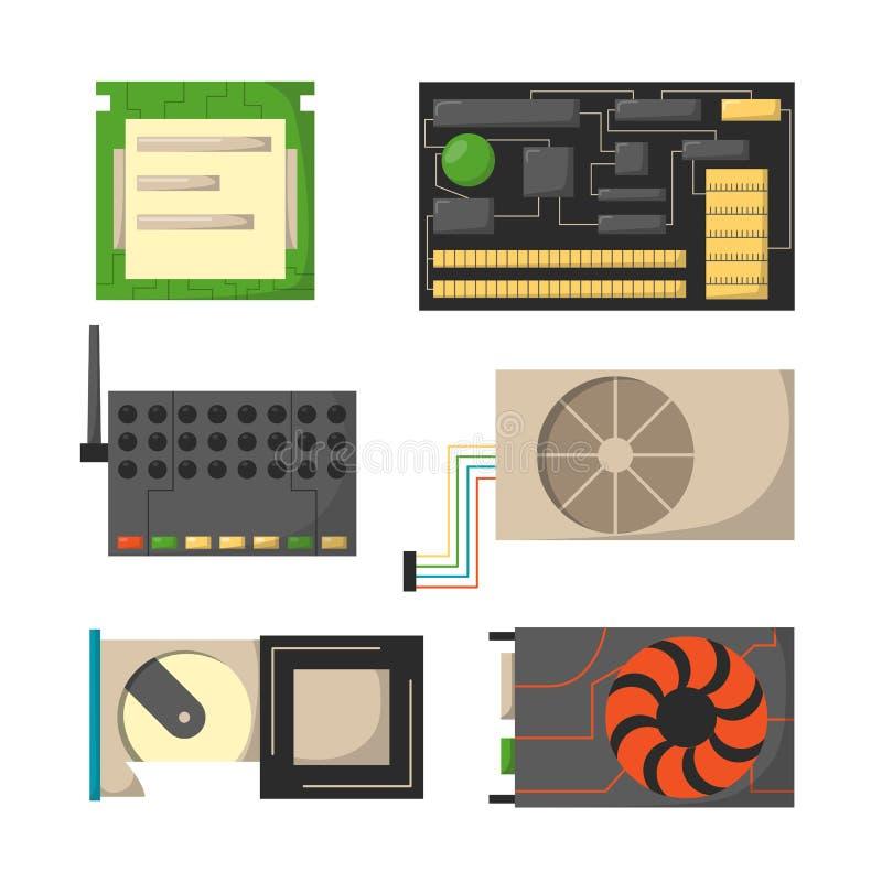 Οι διάφορες συσκευές ηλεκτρονικής εξαρτημάτων τμημάτων δικτύων μερών υπολογιστών και ο επεξεργαστής προσωπικού υπολογιστή γραφείο απεικόνιση αποθεμάτων