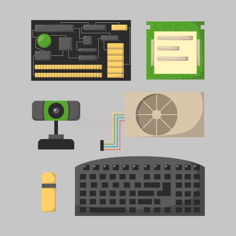 Οι διάφορες συσκευές ηλεκτρονικής εξαρτημάτων τμημάτων δικτύων μερών υπολογιστών και ο επεξεργαστής προσωπικού υπολογιστή γραφείο ελεύθερη απεικόνιση δικαιώματος