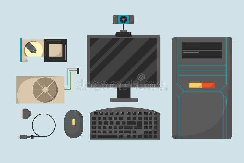 Οι διάφορες συσκευές ηλεκτρονικής εξαρτημάτων τμημάτων δικτύων μερών υπολογιστών και ο επεξεργαστής προσωπικού υπολογιστή γραφείο διανυσματική απεικόνιση