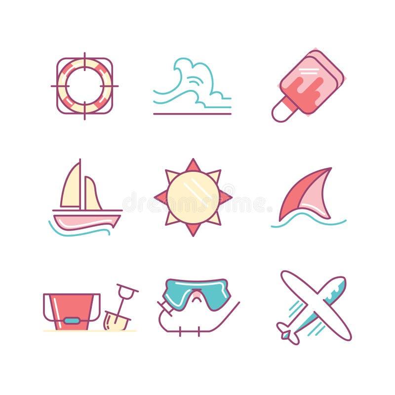 Οι διακοπές ταξιδιού και καλοκαιριού τραγουδούν το σύνολο Λεπτά εικονίδια τέχνης γραμμών επίπεδος διανυσματική απεικόνιση