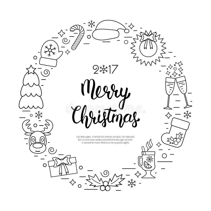 Οι διακοπές Χριστουγέννων περιβάλλουν το πλαίσιο με τις παραδοσιακές ιδιότητες στο ύφος γραμμών με την επιγραφή εγγραφής χεριών δ διανυσματική απεικόνιση