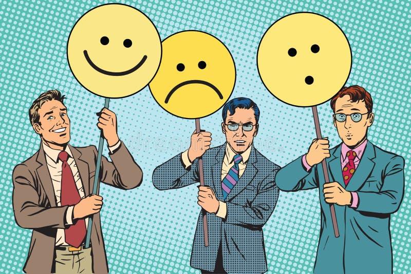 Οι διαμαρτυρόμενοι με τη θλίψη χαράς Emoji αφισσών εκπλήσσουν ελεύθερη απεικόνιση δικαιώματος