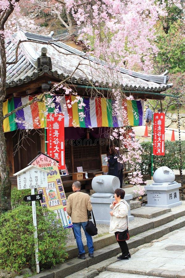 Οι ιαπωνέζοι προσεύχονται και επισκέπτονται τον αρχαίο ναό, εποχή «Hasedera» την άνοιξη στοκ εικόνες