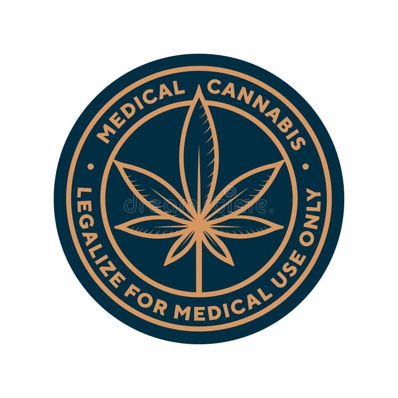 Οι ιατρικές καννάβεις για το ιατρικό λογότυπο χρήσης μόνο, διάνυσμα προτύπων ετικετών ελεύθερη απεικόνιση δικαιώματος