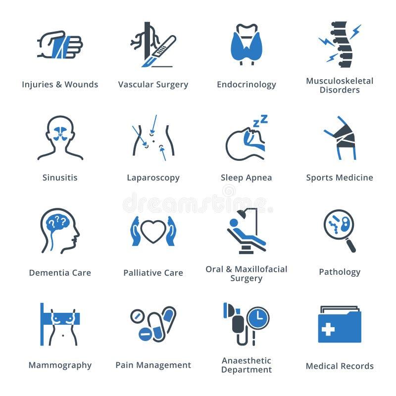 Οι ιατρικές υπηρεσίες & τα εικονίδια ειδικοτήτων θέτουν 5 - μπλε σειρά διανυσματική απεικόνιση
