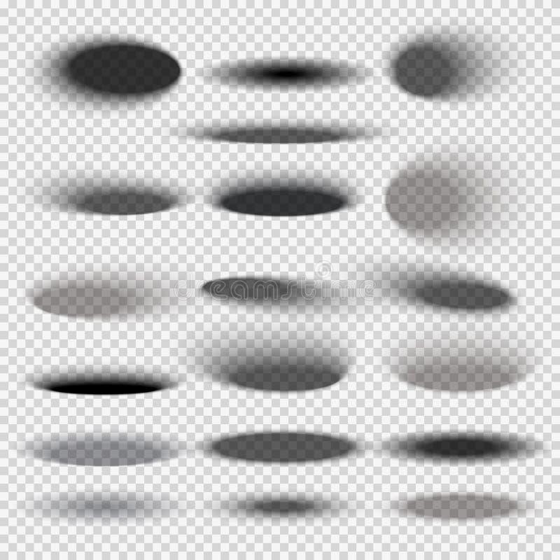 Οι διαφανείς ωοειδείς σκιές κατώτατης πτώσης για οποιοδήποτε κύκλο αντιτίθενται διανυσματικά πρότυπα απεικόνιση αποθεμάτων