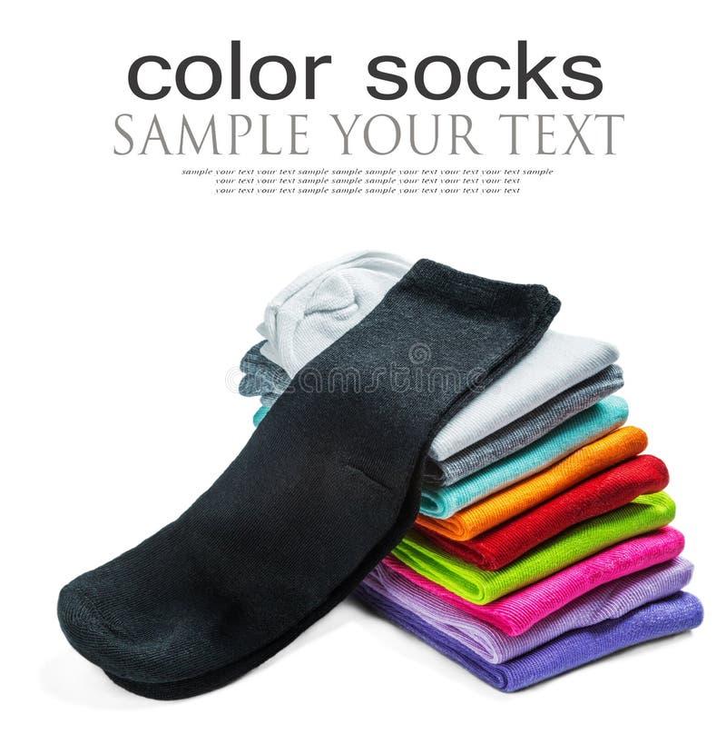 Οι κάλτσες του διαφορετικού χρώματος είναι απομονωμένες στο λευκό στοκ φωτογραφίες με δικαίωμα ελεύθερης χρήσης