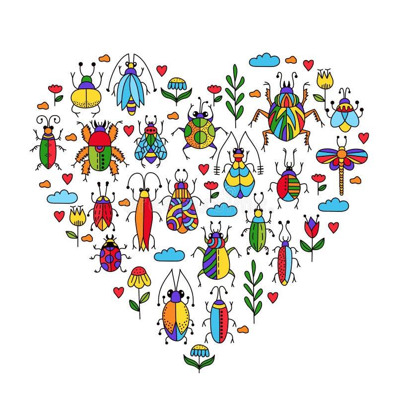 Οι κάνθαροι ζωύφιων εντόμων ανθίζουν doodles τη συλλογή ελεύθερη απεικόνιση δικαιώματος