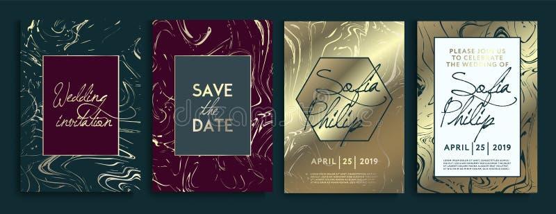 Οι κάρτες γαμήλιας πρόσκλησης με το μαρμάρινο υπόβαθρο σύστασης και τη χρυσή γεωμετρική γραμμή σχεδιάζουν το διάνυσμα Σύνολο πλαι ελεύθερη απεικόνιση δικαιώματος