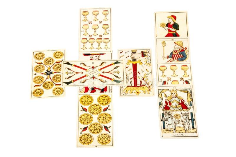 Οι κάρτες Tarot καθορίζουν στον κελτικό σταυρό που διαδίδεται στοκ φωτογραφία με δικαίωμα ελεύθερης χρήσης