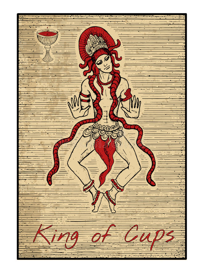 Οι κάρτες tarot στο κόκκινο Βασιλιάς των φλυτζανιών διανυσματική απεικόνιση