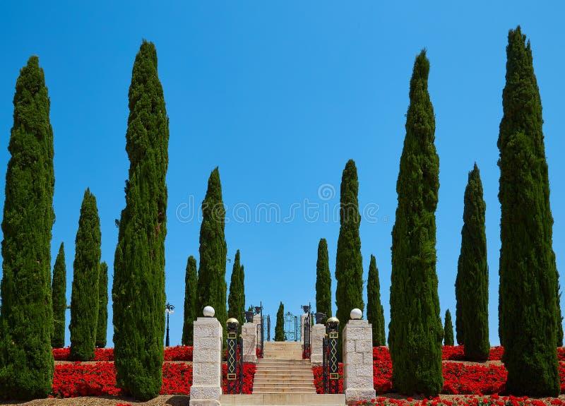 Οι κήποι Bahai στο στρέμμα στρέμματος στοκ εικόνα