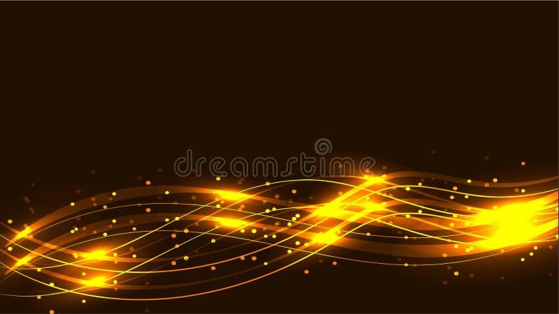 Οι κίτρινες χρυσές διαφανείς αφηρημένες λάμποντας μαγικές κοσμικές μαγικές ενεργειακές γραμμές, οι ακτίνες με τα κυριώτερα σημεία διανυσματική απεικόνιση