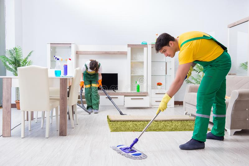 Οι καθαρίζοντας επαγγελματικοί ανάδοχοι που εργάζονται στο σπίτι στοκ φωτογραφία με δικαίωμα ελεύθερης χρήσης