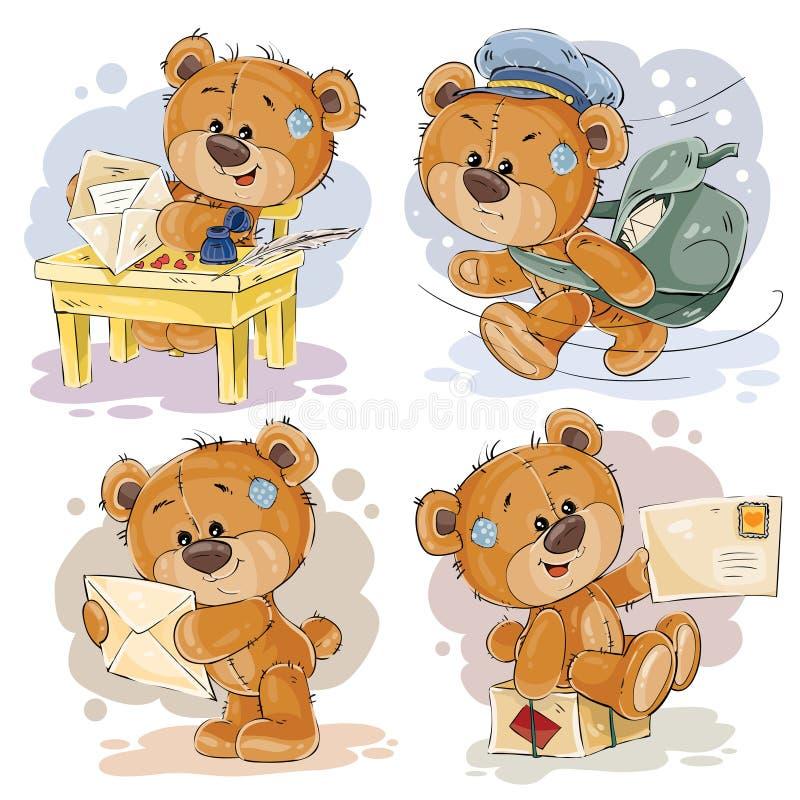Οι καθορισμένες απεικονίσεις τέχνης συνδετήρων της teddy αρκούδας παίρνουν και στέλνουν τις επιστολές διανυσματική απεικόνιση