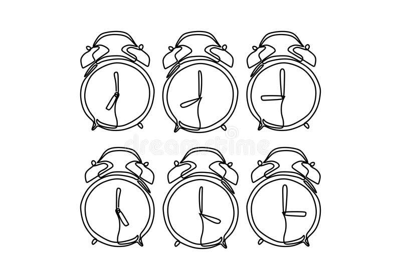 Οι καθορισμένες συλλογές ξυπνητηριών σχεδιάζουν συνεχή μινιμαλιστικό σχέδιο σχεδίων γραμμών στο άσπρο υπόβαθρο ελεύθερη απεικόνιση δικαιώματος