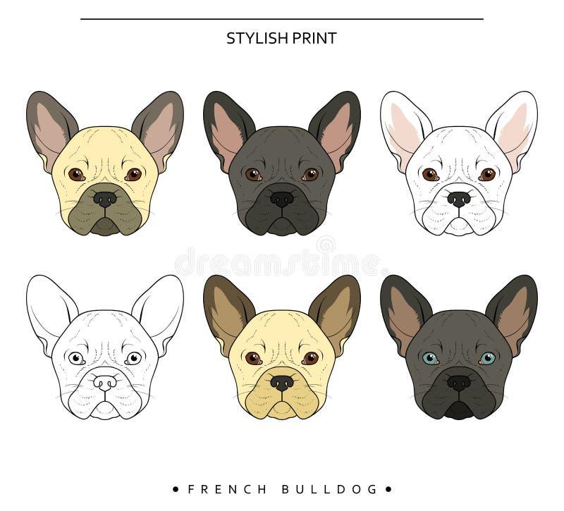 Οι καθορισμένοι στόχοι σκιαγραφούν το γαλλικό διαφορετικό χρώμα μπουλντόγκ πορτρέτο s σκυλιών απεικόνιση αποθεμάτων