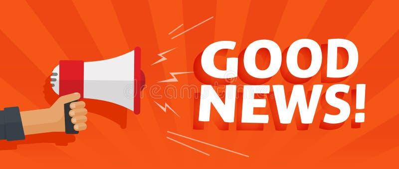 Οι καλές πληροφορίες ειδήσεων άγρυπνες από το χέρι με megaphone ή μεγάφωνων τη διανυσματική απεικόνιση, επίπεδα κινούμενα σχέδια  ελεύθερη απεικόνιση δικαιώματος