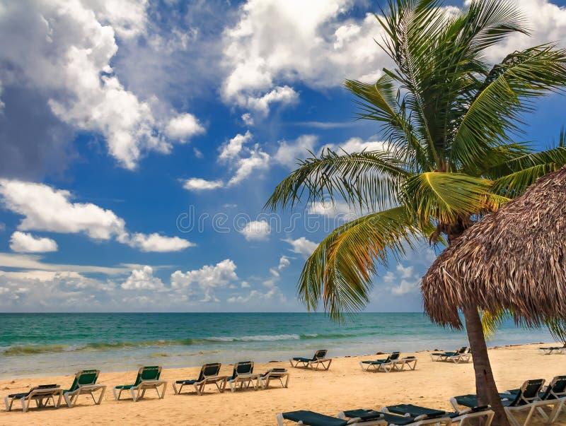 Οι καρέκλες παραλιών από το τυρκουάζ ποτίζουν σε μια τροπική παραλία με ένα π στοκ φωτογραφία με δικαίωμα ελεύθερης χρήσης