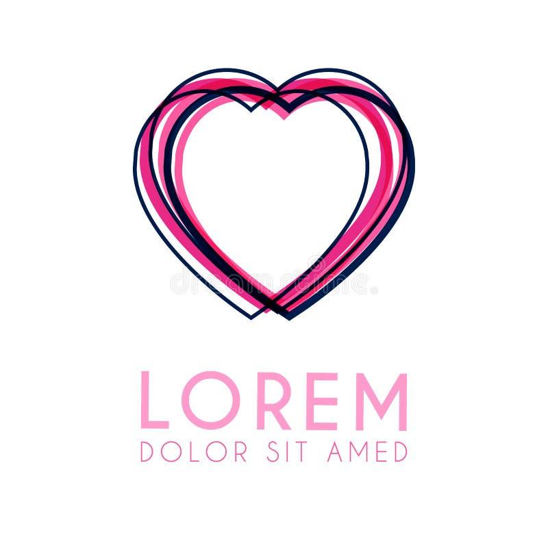 Οι καρδιές λογότυπων διαμορφώνονται από τις γραμμές ροζ και η πορφύρα είναι διαφορετικό πάχος και σωροί από κοινού απεικόνιση αποθεμάτων