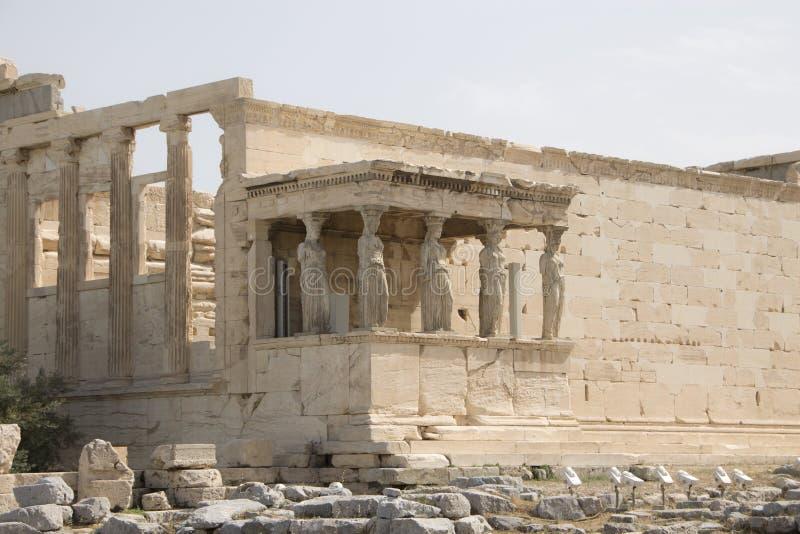 Οι καρυάτιδες, ακρόπολη, Αθήνα, Ελλάδα στοκ εικόνα