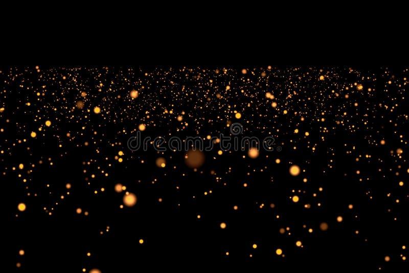 Οι καταρράκτες χρυσού ακτινοβολούν μόρια φυσαλίδων σπινθηρίσματος στο μαύρο υπόβαθρο, διακοπές καλής χρονιάς στοκ φωτογραφία
