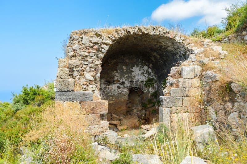 Οι καταστροφές της αρχαίας πόλης Syedra Alanya Τουρκία Τον Ιούνιο του 2015 στοκ εικόνα