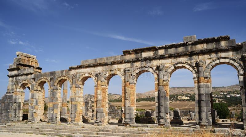 Οι καταστροφές της αρχαίας ρωμαϊκής πόλης Volubilis, Μαρόκο στοκ εικόνες με δικαίωμα ελεύθερης χρήσης