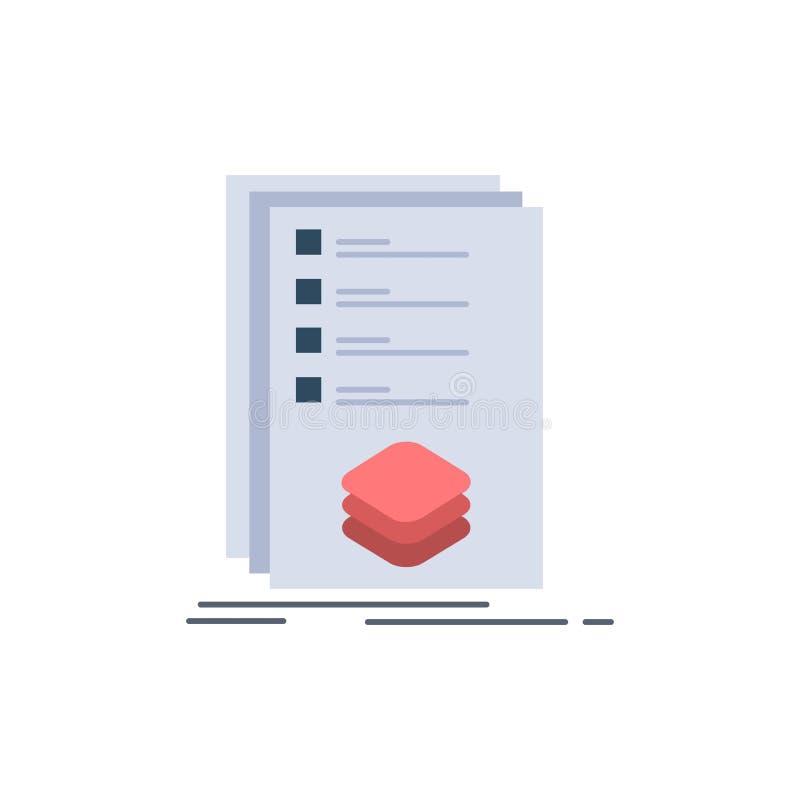 Οι κατηγορίες, έλεγχος, κατάλογος, λίστα, χαρακτηρίζουν το επίπεδο διάνυσμα εικονιδίων χρώματος απεικόνιση αποθεμάτων