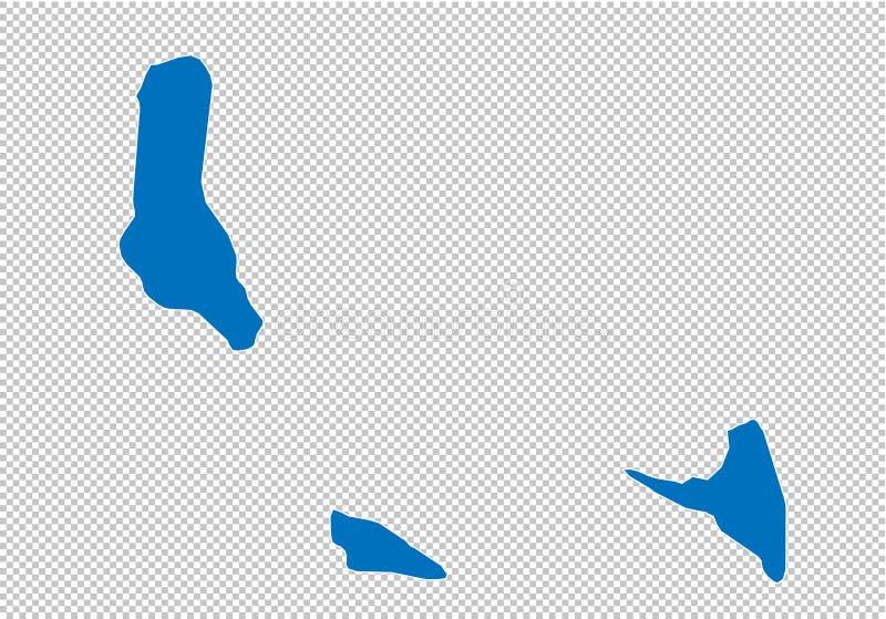 Οι Κομόρες χαρτογραφούν - υψηλός λεπτομερής μπλε χάρτης με τους νομούς/τις περιοχές/τις καταστάσεις των Κομορών χάρτης των Κομορώ ελεύθερη απεικόνιση δικαιώματος