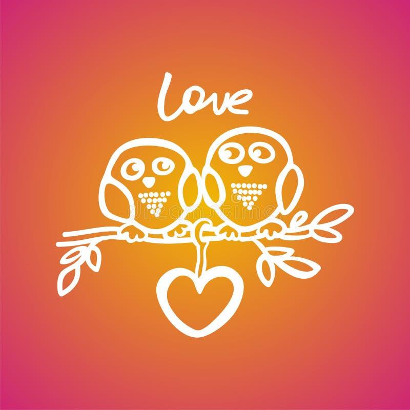 Οι κουκουβάγιες πέφτουν ερωτευμένες στον κλάδο διανυσματική απεικόνιση
