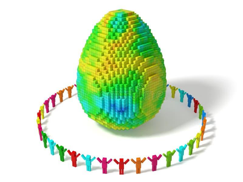 Οι κυβικοί χαρακτήρες το αυγό με τους τυχαίους χρωματισμένους φραγμούς ελεύθερη απεικόνιση δικαιώματος