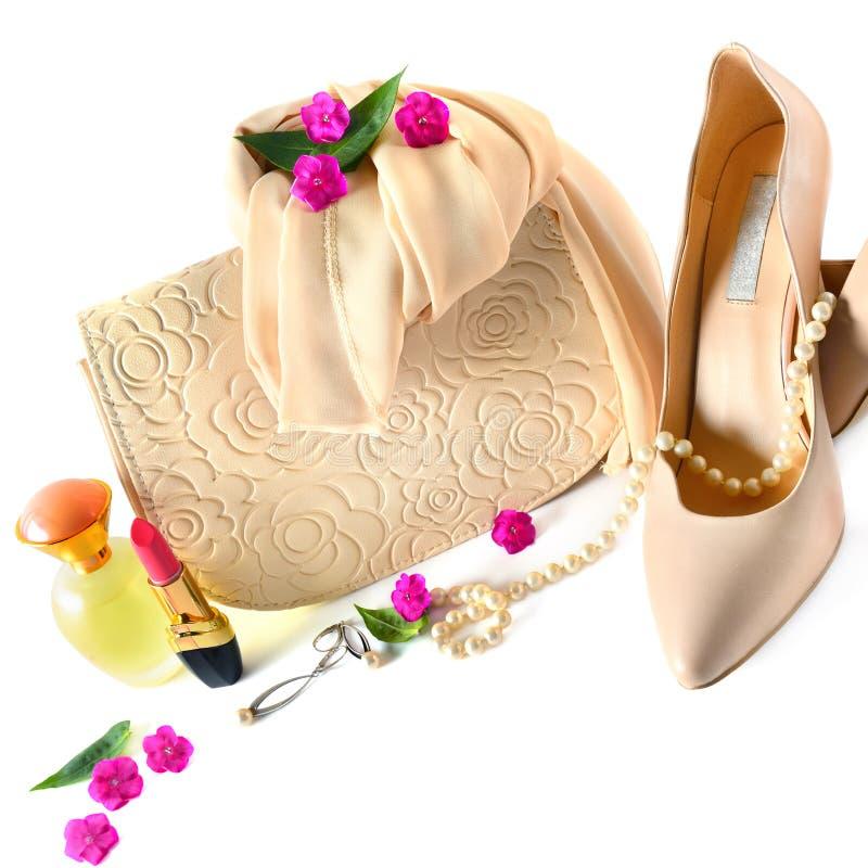 Οι κυρίες τοποθετούν σε σάκκο, παπούτσια, κόσμημα, καλλυντικά και αρώματα στο W στοκ εικόνα με δικαίωμα ελεύθερης χρήσης