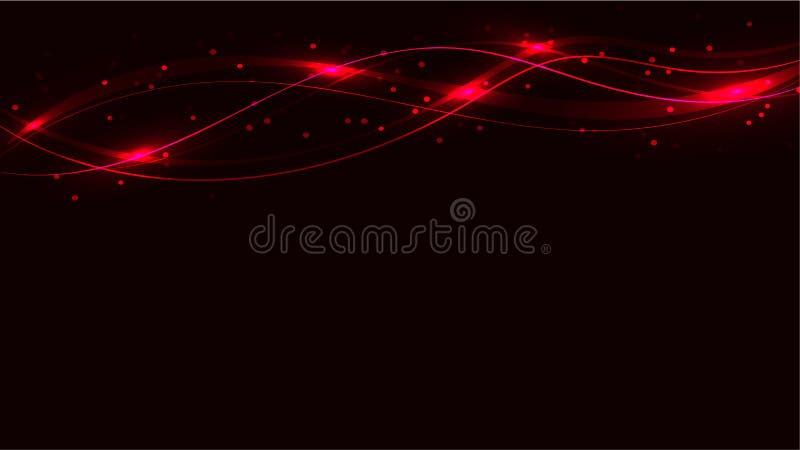 Οι κόκκινες διαφανείς αφηρημένες λαμπρές μαγικές κοσμικές μαγικές ενεργειακές γραμμές, οι ακτίνες με το έντονο φως και τα σημεία  διανυσματική απεικόνιση