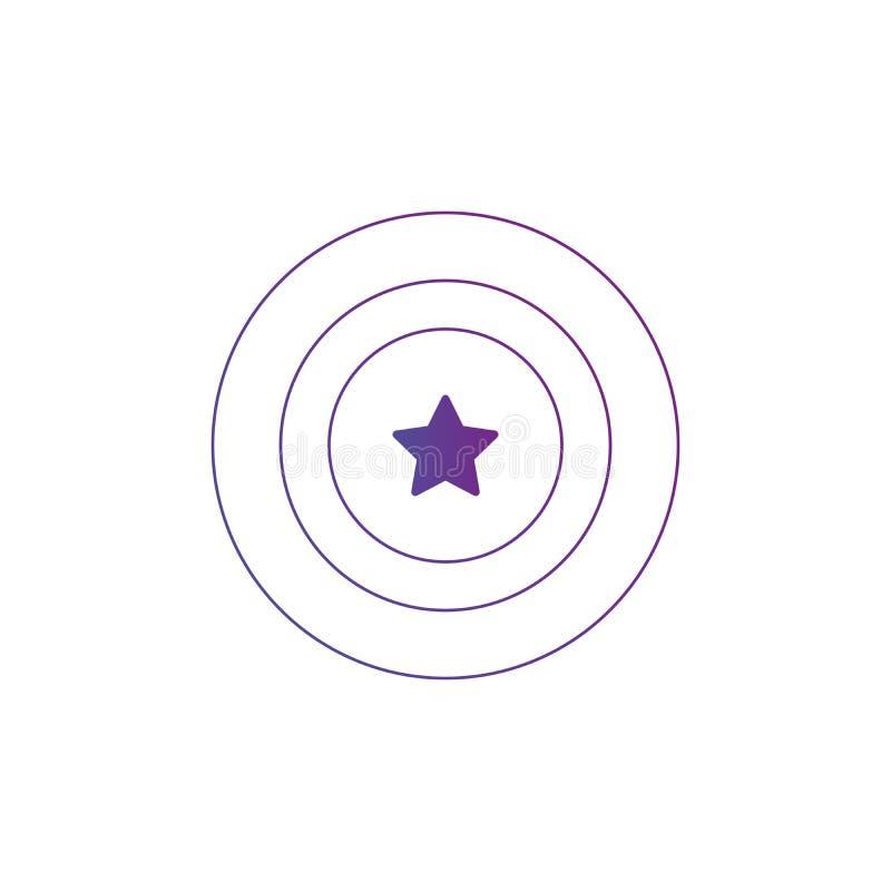 Οι κύκλοι στοχεύουν το εικονίδιο με το αστέρι στο κέντρο, απεικόνιση που απομονώνεται στο άσπρο υπόβαθρο ελεύθερη απεικόνιση δικαιώματος