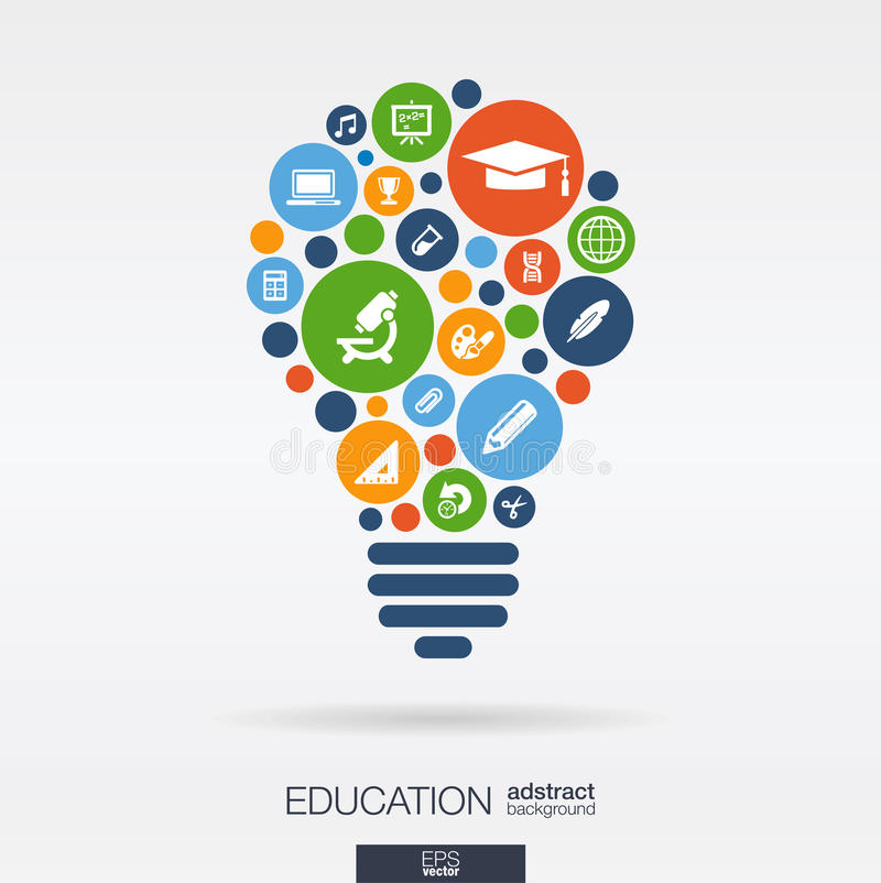 Οι κύκλοι χρώματος, επίπεδα εικονίδια σε έναν βολβό διαμορφώνουν: εκπαίδευση, σχολείο, επιστήμη, γνώση, elearning έννοιες αφηρημέ διανυσματική απεικόνιση