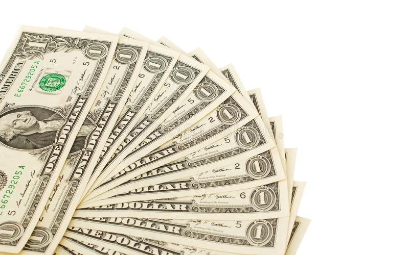 Οι λογαριασμοί ενός δολαρίου στο λευκό απομονώνουν το υπόβαθρο Επιχειρησιακή έννοια β στοκ εικόνες
