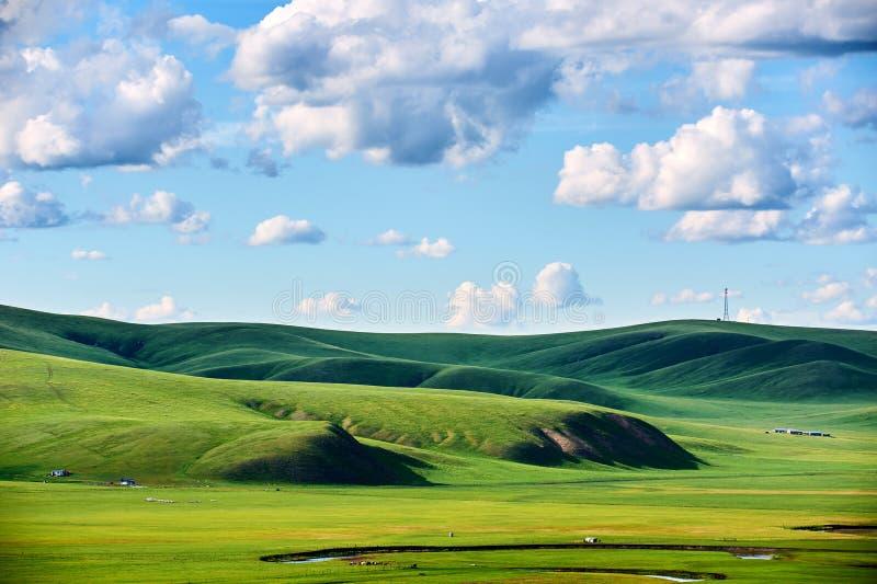 Οι λόφοι και τα σύννεφα στους λόφους στο θερινό λιβάδι στοκ εικόνα