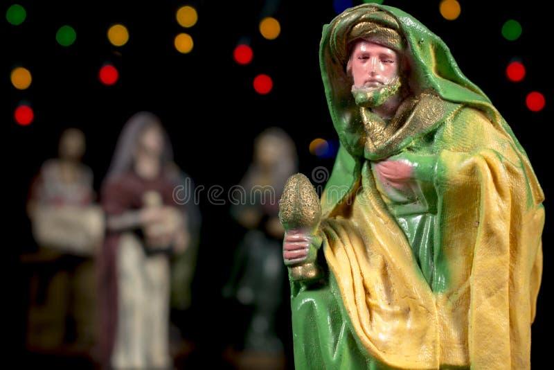 Οι μάγοι Caspar Ειδώλια σκηνής Nativity Παραδόσεις Χριστουγέννων στοκ φωτογραφίες