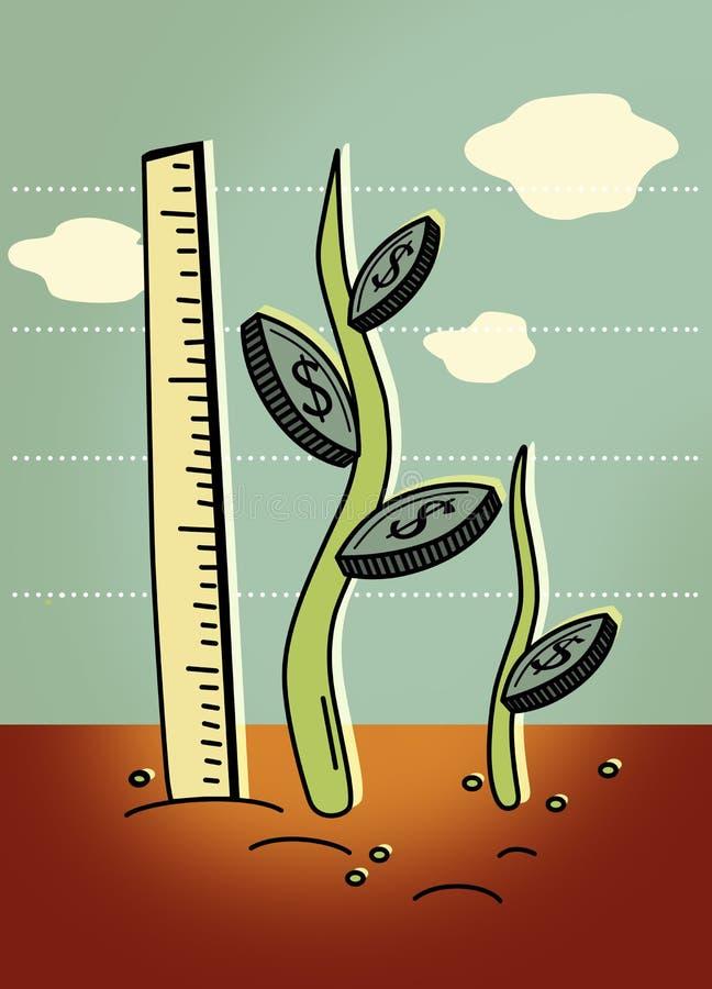 Αύξηση χρημάτων Οι μίσχοι των φυτών με τα φύλλα υπό μορφή νομισμάτων με ένα σημάδι δολαρίων αυξάνονται με μια κορυφογραμμή με ένα διανυσματική απεικόνιση