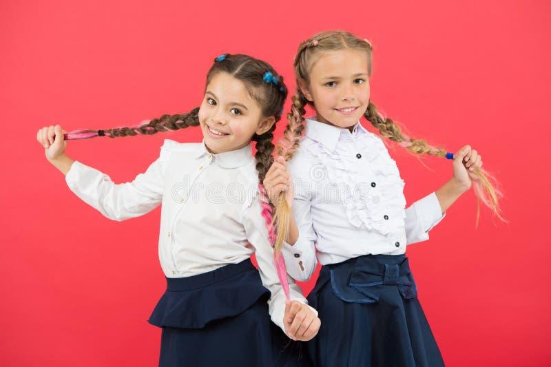 Οι μαθήτριες τακτοποιούν την εμφάνιση χαίρω πολύ Συναντήστε τους νέους φίλους στο σχολείο Σχολική φιλία Εάν ήταν το σχολείο περισ στοκ εικόνα