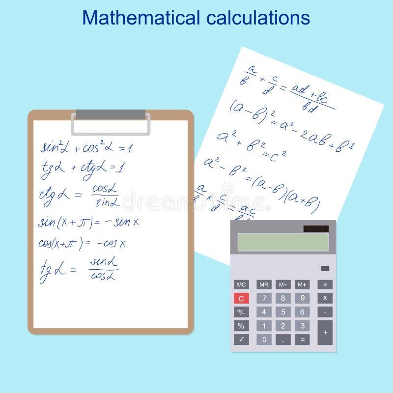 Οι μαθηματικοί τύποι Υπολογιστής, ταμπλέτα και η Λευκή Βίβλος ελεύθερη απεικόνιση δικαιώματος