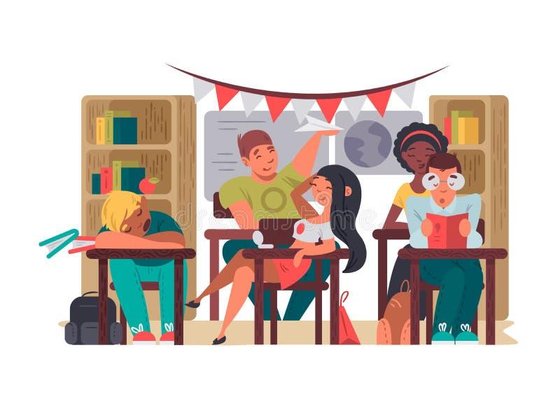 Οι μαθητές κάθονται στην τάξη στα γραφεία ελεύθερη απεικόνιση δικαιώματος