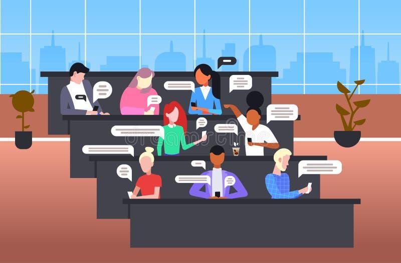 Οι μαθητές που χρησιμοποιούν τα smartphones mobile chatting app social network chat bubble communication idea συνδυάζουν τα αγόρι απεικόνιση αποθεμάτων